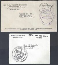 US OFFICIAL 1935 DIPLOMATIC MAIL FREE EMBASSY OF QUBA WASHINGTON DC +ZONE FRANCA