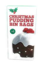 Christmas Pudding Design Xmas Bin Bags 8 x 60 Litre Capacity New Gift
