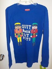 MENS SMALL ROYAL BLUE QUIT BUSTIN' MY NUTS NUTCRACKER THERMAL SHIRT NEW #5177