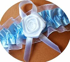 Strumpfband Braut blau weiß SATINRÖSCHEN Rose Röschen Satin Organza Hochzeit