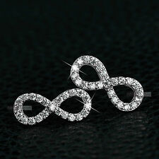 18ct white gold made with swarovski crystal wedding ladies stud earrings BOWKNOT