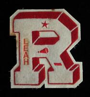 """VINTAGE 1960'S-1970'S SCHOOL LETTER RED AND WHITE PATCH 6"""" X 6 1/2"""""""