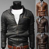 Mens PU Leather Jacket Coat Black Fashion Slim Fit Biker Motorcycle Tops Hot Lot