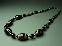 Vintage Bohemian Aventurine Gold Marble Black Glass Bead Necklace