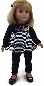 Halloween Peek-A-Boo Top & Black Leggings for 18 inch American Girl Doll Clothes