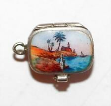 Rare Antique Opening Moses Basket Silver and Enamel Bracelet Charm  c1920