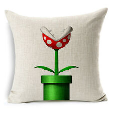"18""x45cm Super Mario Bros Piranha Flower Cotton Linen Cushion cover Pillowcase"