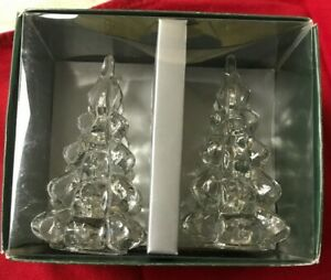 """Christmas Tree Taper Candle Holders 2pc set WILLIAMS SONOMA 4"""" Glass Holiday NEW"""