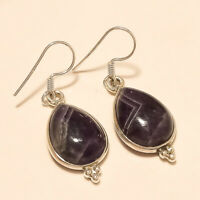 Natural Brazilian Bio Amethyst Earrings 925 Sterling Silver Dangle Drop Jewelry