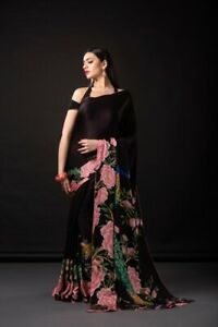Crepe Silk Georgette Saree Peacock Floral Printed Light Weight Party Wear Sari