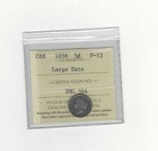 **1858 Large Date**,ICCS Graded Canadian,  5 Cent, **F-12**