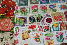 BULK LOT FLOWER THEMED STAMPS X 50  GOOD MIX FREE POSTAGE IN OZ