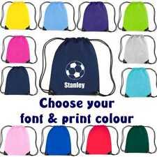 Football  Print Drawstring Bag Personalised Sack Gym PE Swim School Waterproof