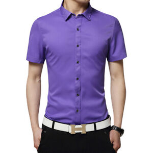 New Mens Dress Shirts Summer Short Sleeves Luxury Camisas Casual Slim Fit Shirts