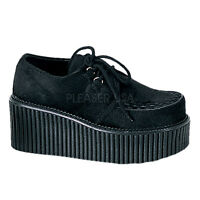 "DEMONIA CRE202/B/FUR Women's Fuzzy Black Lace Up 3"" Platform Creepers Goth Shoes"