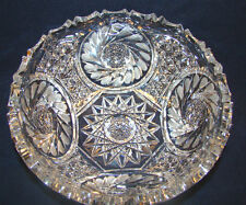 "Brilliant Crystal Bowl Saw Tooth Rim Huge 9"" and Heavy Deep Clear Cut @H"