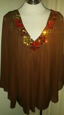 Butler & Wilson QVC brown flower jewel v neck top small new