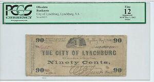 PCGS 90 Cents 1862 Virginia City of Lynchburg Dog Guards Key #6935 Civil War CSA