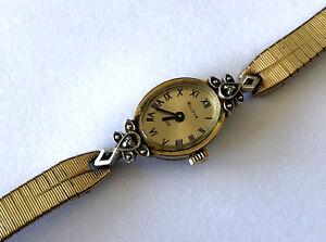 Art Deco Bulova 23 N4 5BD Wind Up Ladies Rolled Gold Plate Watch 2 Diamond Runs