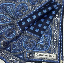 CHRISTIAN DIOR Vintage Silk Scarf Handkerchief Made In Italy 18x18'' Blue