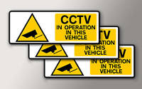 3 SMALL CCTV IN OPERATION IN THIS VEHICLE STICKER 75mmx 25mm
