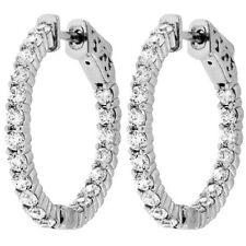1.50 cttw Round Cut Diamond Inside Outside Hoop Earrings 14K White Gold F-G VS-2