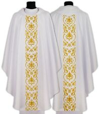 White Gothic Chasuble 674-B25 Vestment Casulla Blanca Casula Bianca Weiss Kasel