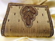 Antique Gold Handbag Clutch Wallet Bollywood EID Indian Dress Purse Art Silk