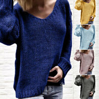 Womens Fashion V-Neck Sweater Pullover Long Sleeve Loose Soft Knit Sweatshirts