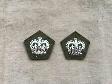 Original 1950/60s British Army Officers Khaki Green Battledress Rank Crowns x 2