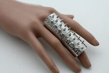 Women Silver Metal Long Spikes Ring Fashion Jewelry One Size Band Rock Punk Cool