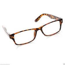 Fashion Retro Unisex Mens Womens Clear Lens Tortoise Rectangular Glasses Eyewear