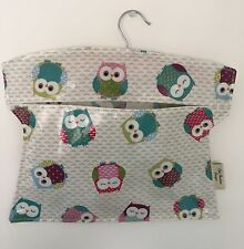 Peg bag,handmade Peg Bag,laundry Bag,clothes Peg Bag,owls oilcloth