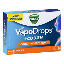 * VICKS VAPODROPS + COUGH NOSE THROAT 16 LOZENGES ORANGE MENTHOL FLAVOUR