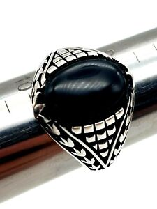Mens 925 Sterling Silver Ring Size 9 Handmade BLACK ONYX