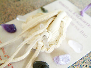 SPIRITUAL ENLIGHTENMENT CRYSTAL MEDICINE BAG Pocket Size Pouch Reiki Gemstones