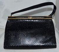 Vintage Naturalizer Black Snake Embossed Faux Leather Purse Grosgrain Lining