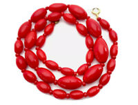 "Vintage Glossy Red Oval Glass Bead Necklace 17"" Long GIFT BOXED"