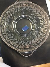 """Sterling Silver overlay plate or dish Thistles. 13.5"""" From Handle To Handle"""