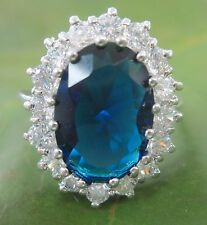 """925 STERLING SILVER """"ROYAL ENGAGEMENT"""" White CZ & Blue Oval SAPPHIRE Ring - GIRL"""