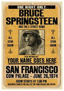 """Reproduction """"Bruce Springsteen - San Francisco 1974"""" Poster, Various Sizes"""