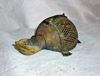 Ancien encensoir ou boite tortue ASHANTI bronze ciselé ajouré Art Africain