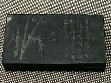 Chino Desconocido Edad Tinta Piedra Firmado Caja Con / Caligrafía Bambú & Pájaro
