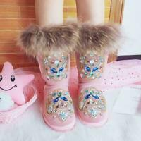 Rhinestone Warm Winter Real Leather Fox Fur Womens Snow Boots Mid-calf Boots @HA