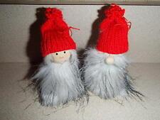Scandinavian Fuzzy Tomte Gnome Couple Christmas Ornaments Box of 2 #1228