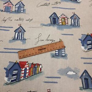 Beach Huts 100% Canvas Cotton Recover Craft Cushion Project