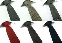 Houndstooth Wool Tweed Tie Brown Black Grey Silver Checks