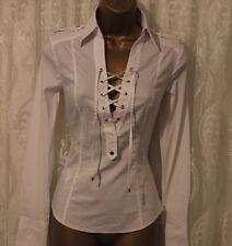 Karen Millen Cotton Lace Tie Collar Tailored Formal Stretch Fit White Shirt 8 36