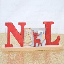 Noel Christmas Wooden Sign Red Grey White Reindeer Freestanding 29cm