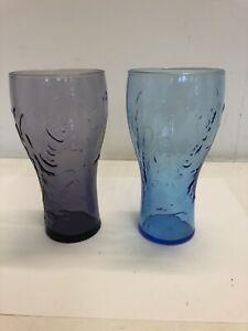 2 X Coca Cola Promotional Glasses - Blue & Purple